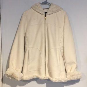 Jones New York Jackets & Coats - Jones New York cream winter hooded jacket SZ Large